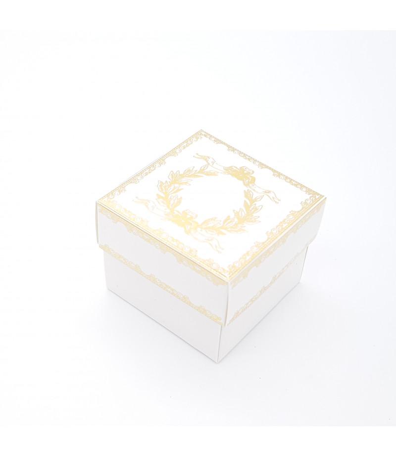 Altın Yaldızlı Süsleme Kutusu Beyaz