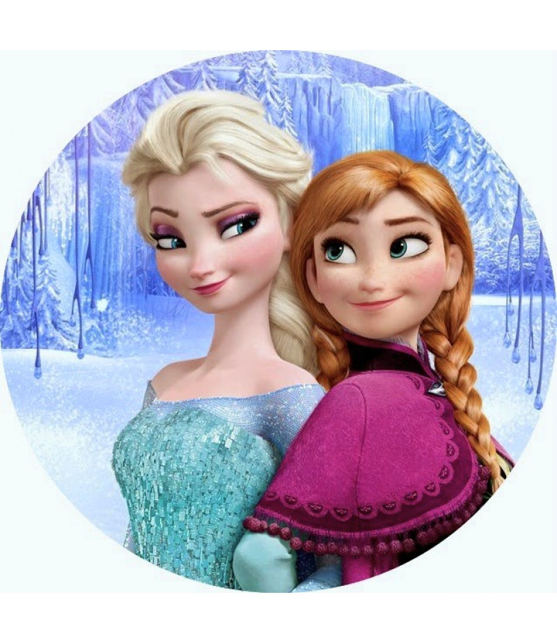 Anna,Elsa Yuvarlak Şeker Hamuru Kağıdı İle Baskı