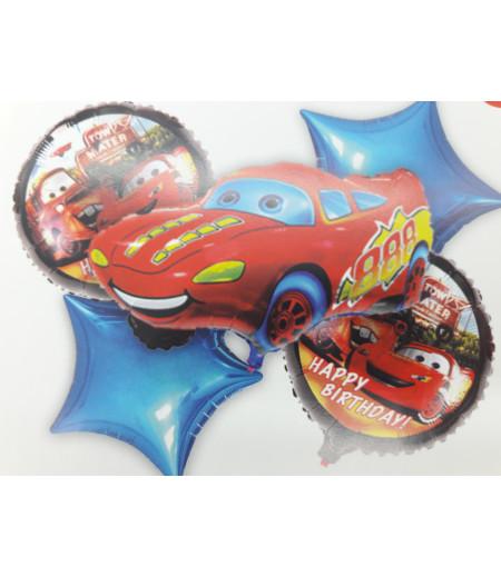 Arabalar Cars Happy Birthday Desenli 5 Li Balon Seti Kırmızı