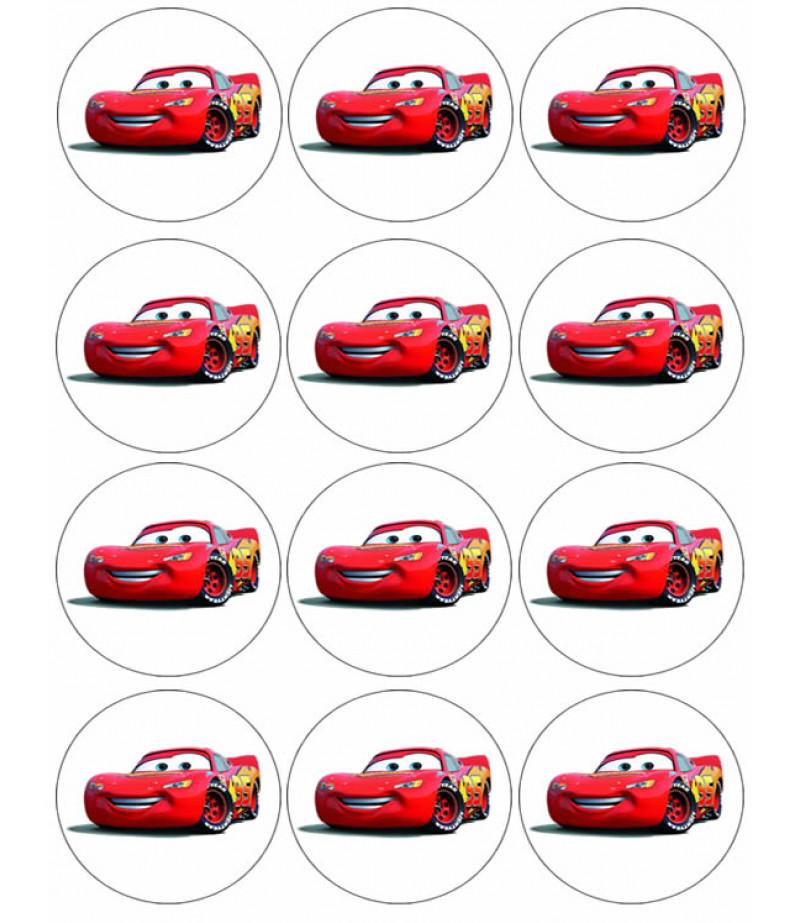 Arabalar,Cars Kurabiye İçin Gofret Kağıdı İle Baskı