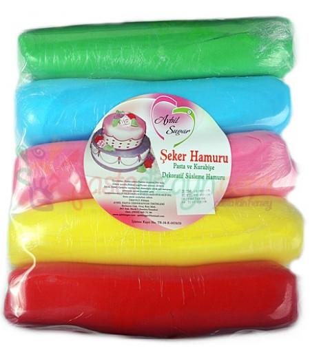 Aybil Renkli Şeker Hamuru,200grx5 Renk