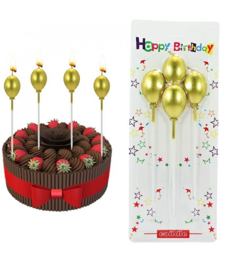 Balon Şekilli Metalik Altın Renk Mum - 4 adet