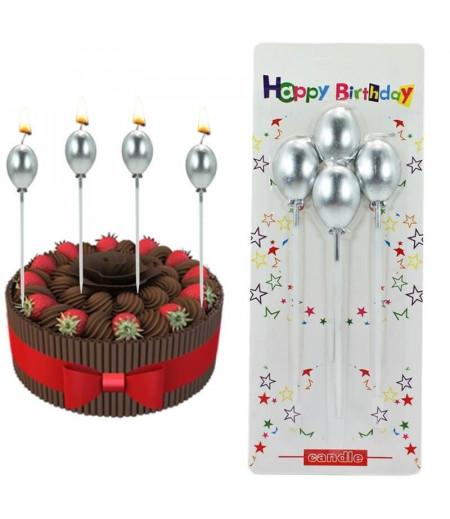 Balon Şekilli Metalik Gümüş Renk Mum - 4 adet