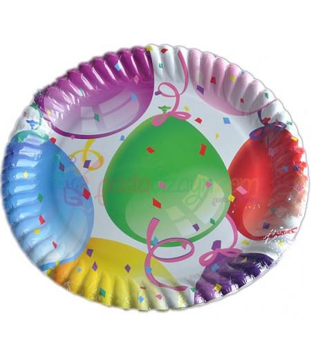 Balonlar Temalı Kağıt Tabaklar,8 adet