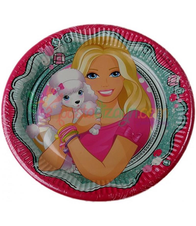 Barbie Görselli Kağıt Tabaklar,8 Adet