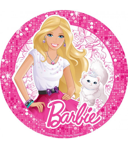 Barbie Yuvarlak Gofret Kağıdı İle Baskı