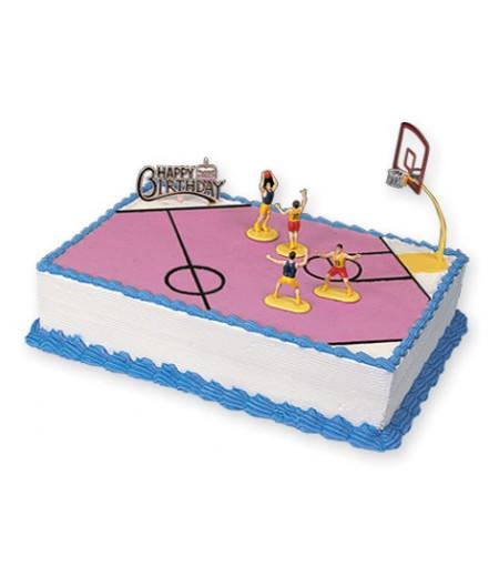 Basketbol Pasta Üstü Süsleme Seti,(1 Pota,4 Oyuncu)
