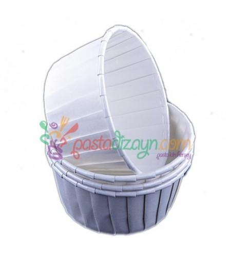 Beyaz,Desenli Kek Kapsülleri,25 Adet