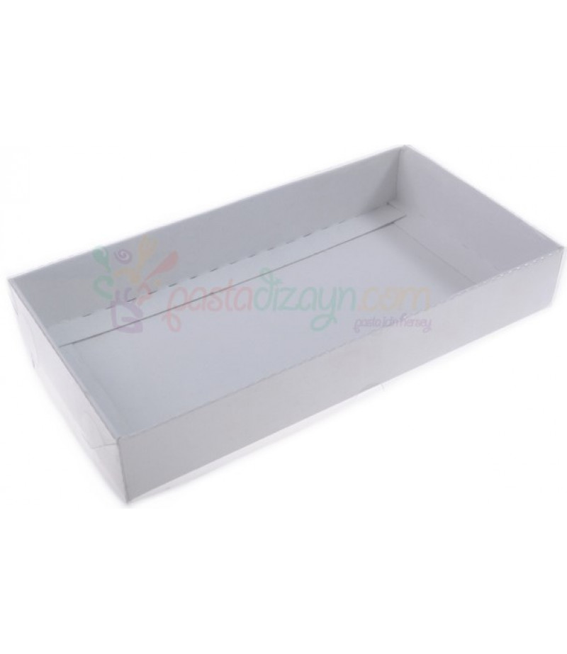 Beyaz Renk Puantiyeli Asetat Kutular,15x25x5cm,Adet