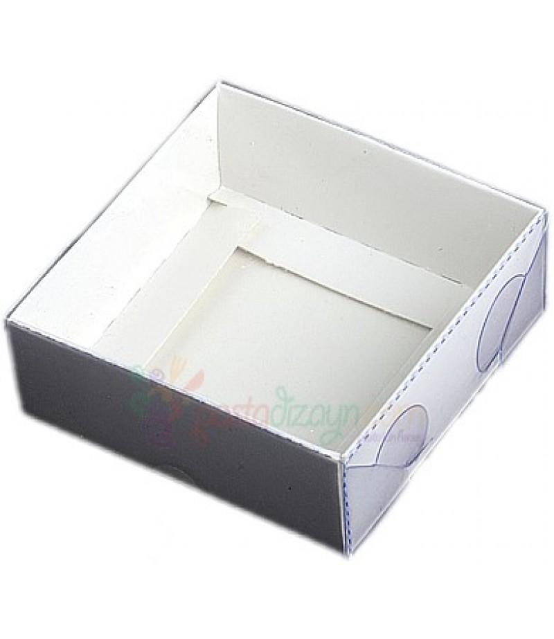 Beyaz Renk Asetat Kutular,8x8x3cm,5 Adet