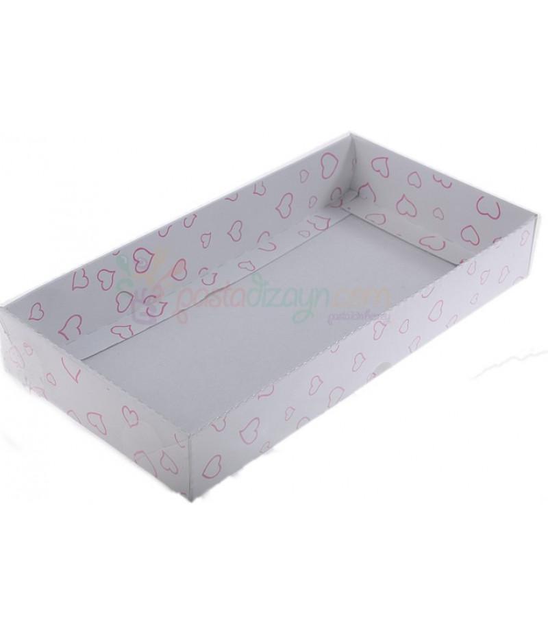 Beyaz Renk Kırmızı Kalpli Asetat Kutular,10x20x3cm,5 Adet