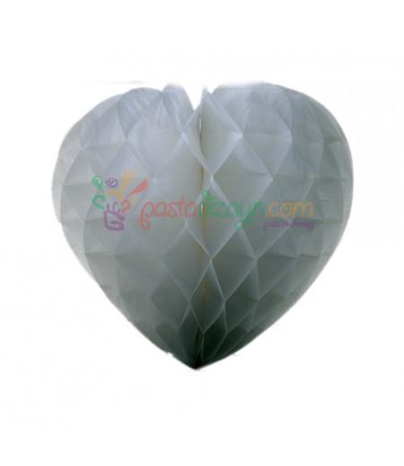 Beyaz Renk Kalpli Petek Parti Süslemesi,15cm