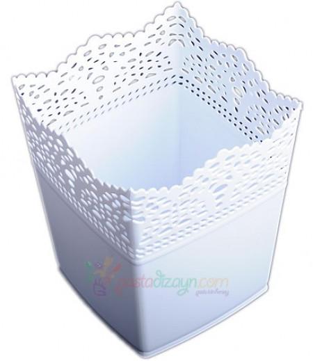 Beyaz Renk Kare Plastik Sunum Kovası