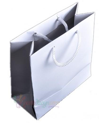 Beyaz Renk Karton Çanta,8 Adet