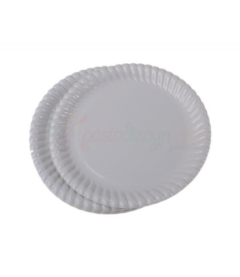Beyaz Renk Küçük Plastik Tabaklar,25 adet