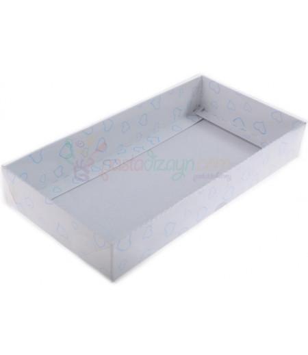 Beyaz Renk Mavi Kalpli Asetat Kutular,10x20x3cm,5 Adet