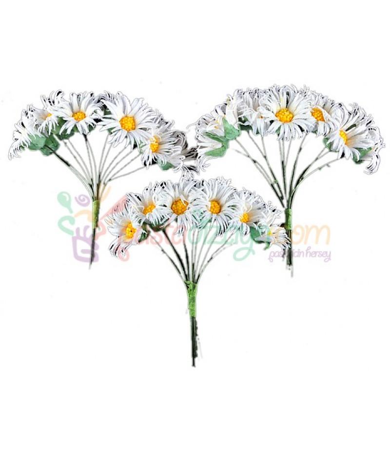 Beyaz Renk Papatya Süsleme Cicekleri,2 Demet