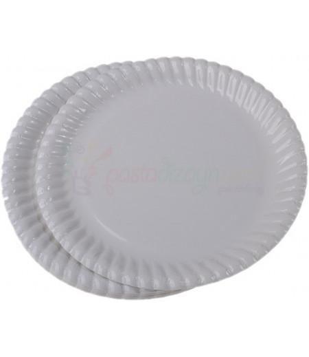 Beyaz Renk Plastik Tabaklar,25 adet
