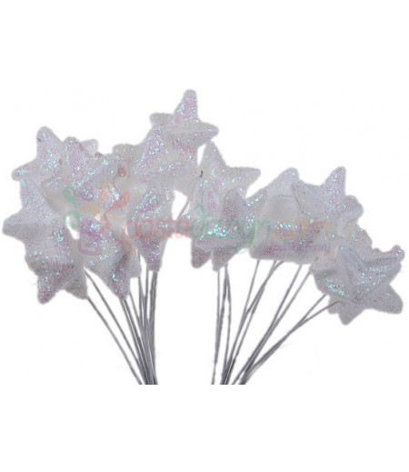 Beyaz Renk Simli,Yıldızli Süsleme Cicekleri