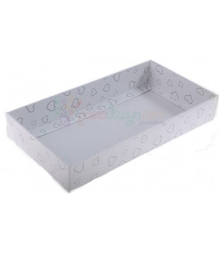 Beyaz Renk Siyah Kalpli Asetat Kutular,10x20cm,5 Adet