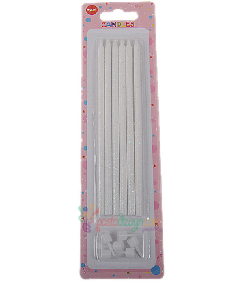 Beyaz Renkli Simli Uzun Mum Seti