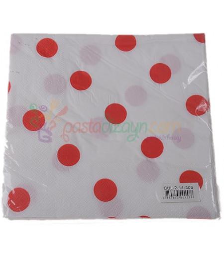 Beyaz,Kırmızı Puantiyeli Kağıt  Peçeteler