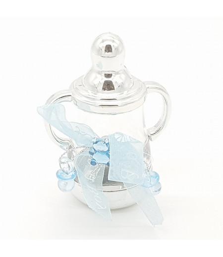 Biberon Desenli Emzik Ayıcık Mavi kurdela Süsleme Gümüş
