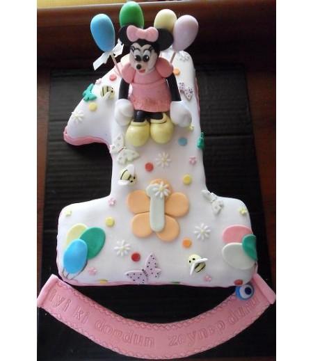 Mickey Mouse Figürlü 1 Yaş Pastası,15-17 Kişilik