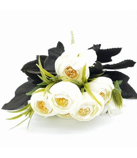 Dekoratif Yapay Çiçek Gül Buketi Beyaz