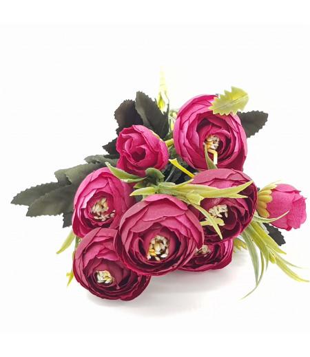 Dekoratif Yapay Çiçek Gül Buketi Bordo