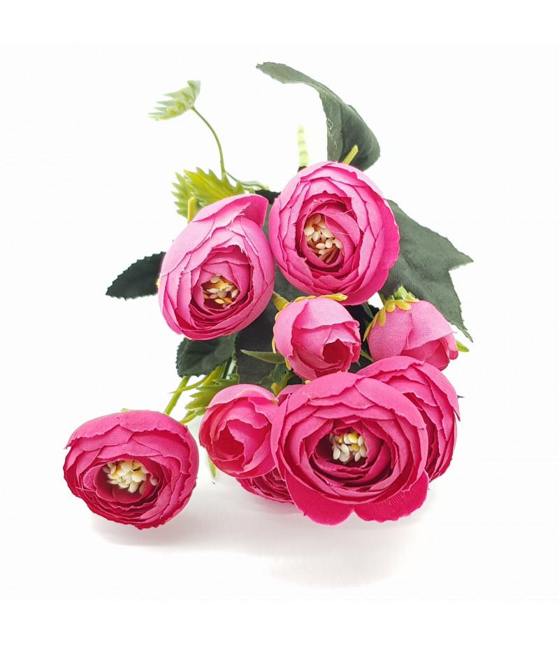 Dekoratif Yapay Çiçek Gül Buketi Fuşya