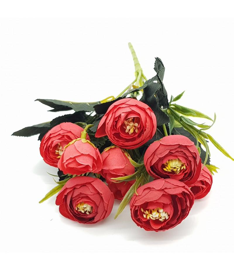 Dekoratif Yapay Çiçek Gül Buketi Kırmızı