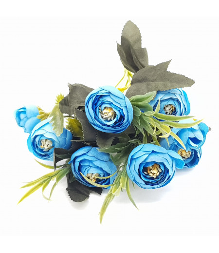 Dekoratif Yapay Çiçek Gül Buketi Mavi
