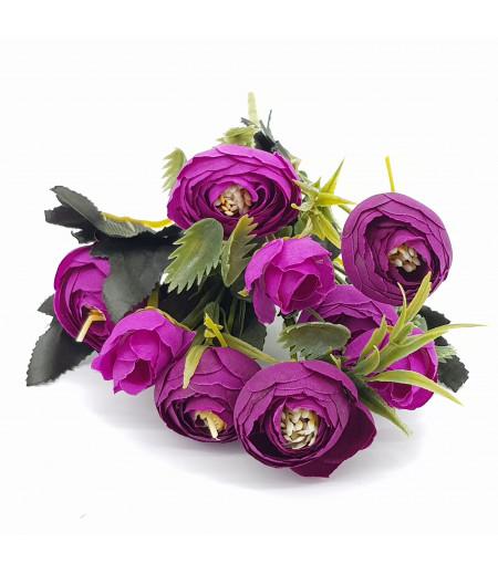 Dekoratif Yapay Çiçek Gül Buketi Mor