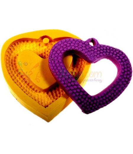 Silikon Desenli Kalp Çerçeve Kalıbı