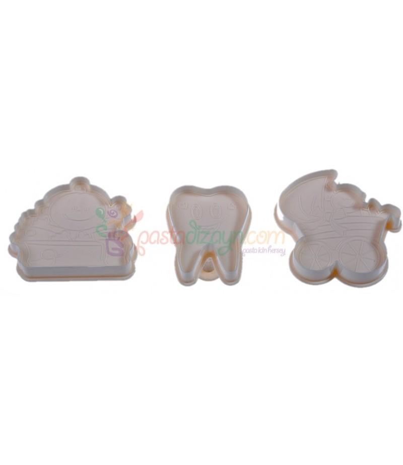 Diş,Bebek Arabası,Bebek Küveti Basmalı Set