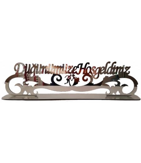 Düğünümüze Hoşgeldiniz Yazılı Pleksi Süsleme,Gümüş