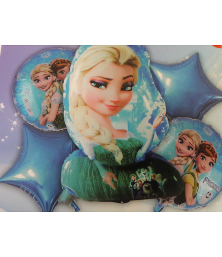 Frozen Elsa Mavi Yıldız  Desenli 5 Li Balon Seti Mavi