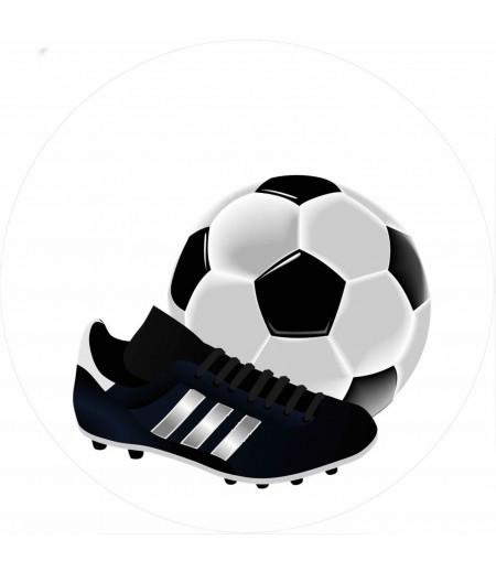 Futbol Temalı Yuvarlak Şeker Hamuru Kağıdı ile Baskı
