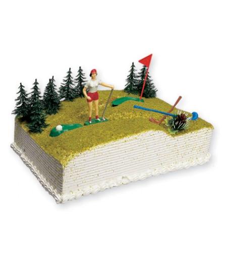 Golfcü Pasta Üstü Süsü (1 Golfcü,2 Golf Sopası,2 Bayrak, 2 Çukur)