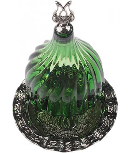 Gümüş Prinç Yeşil Renk Kubbeli Akrilik Lokumluk