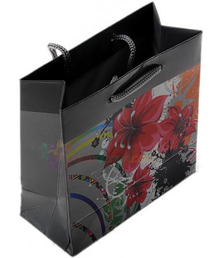 Gümüş Renk Çiçekli Karton Çanta,11x11cm