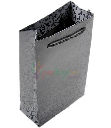 Gümüş Renk Çiçekli Karton Çanta,11x17cm