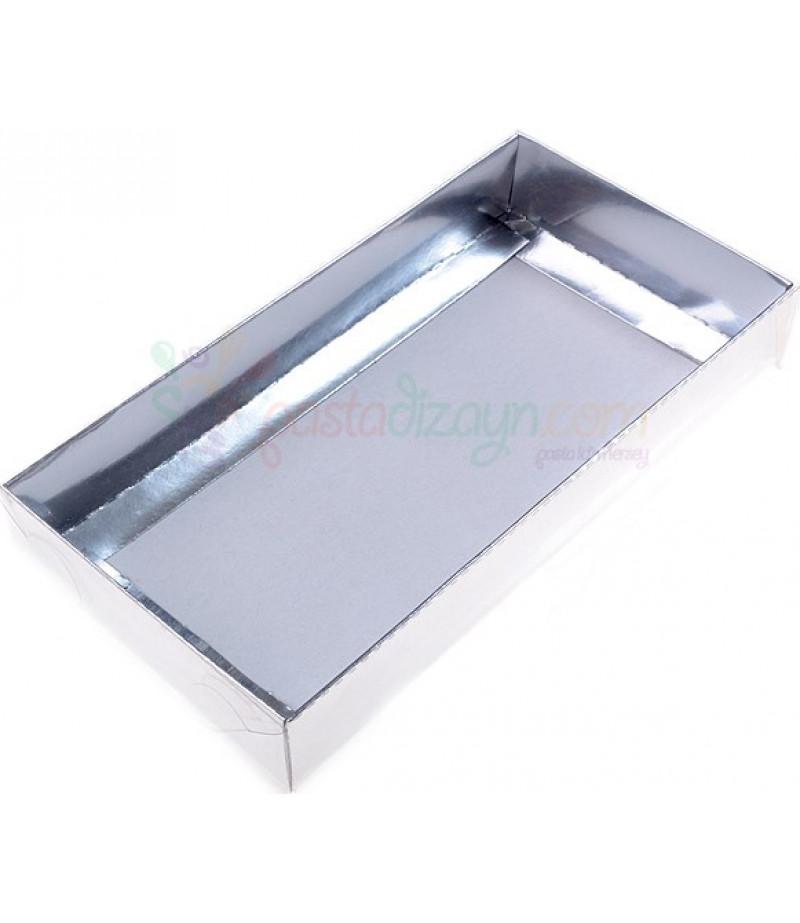 Gümüş Renk Asetat Kutular,10x20x3cm,5 Adet
