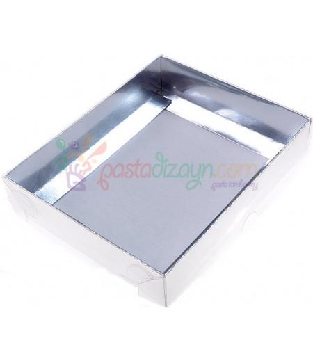 Gümüş Renk Asetat Kutular,12x15x3cm,5 Adet
