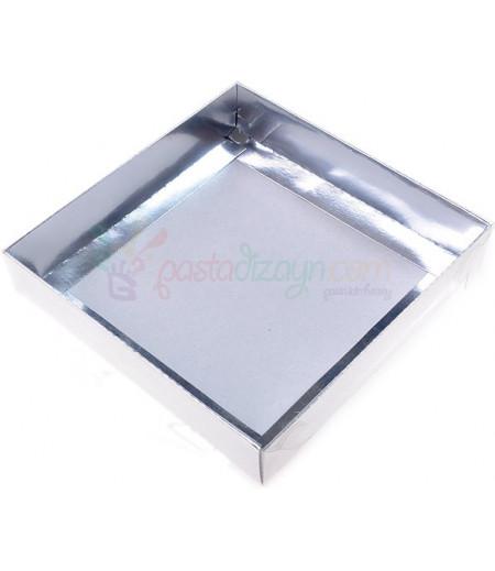 Gümüş Renk Asetat Kutular,15x15x3cm,5 Adet