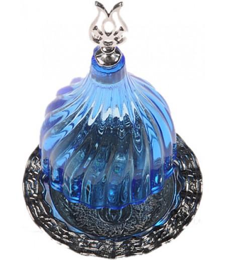 Gümüş Prinç Mavi Renk Kubbeli Akrilik Lokumluk
