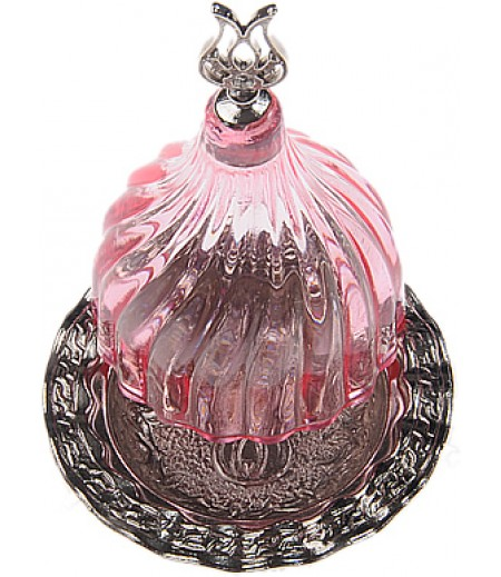 Gümüş Prinç Pembe Renk Kubbeli Akrilik Lokumluk