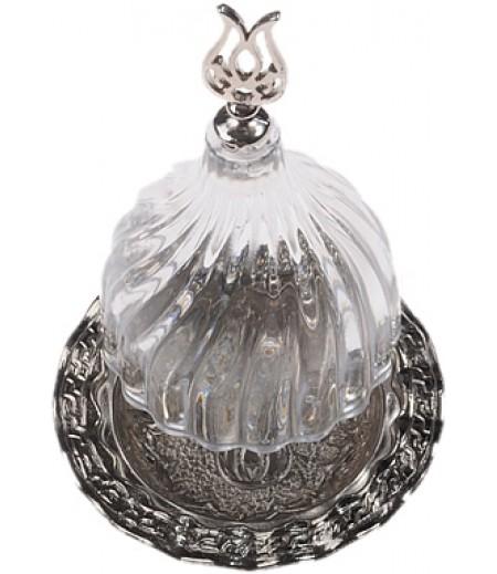 Gümüş Prinç Şeffaf Renk Kubbeli Akrilik Lokumluk