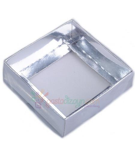 Gümüş Renk Asetat Kutular,8x8x3cm,5 Adet
